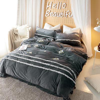 2020新款冬季-安哥拉绒牛奶绒宝宝绒绒类四件套 床单款四件套1.5m(5英尺)床 蓝调-灰