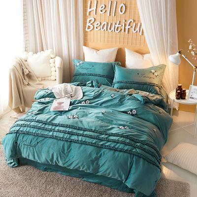 2020新款冬季-安哥拉绒牛奶绒宝宝绒绒类四件套 床单款四件套1.5m(5英尺)床 蓝调-绿
