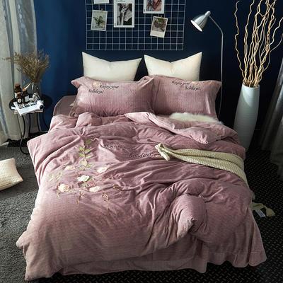 2020新款冬季-安哥拉绒牛奶绒宝宝绒绒类四件套 床单款四件套1.5m(5英尺)床 潘多拉-豆沙
