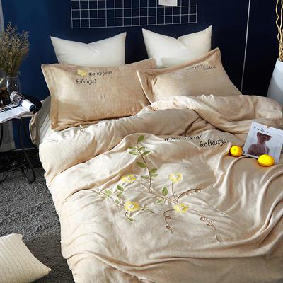 2020新款冬季-安哥拉绒牛奶绒宝宝绒绒类四件套 床单款四件套1.5m(5英尺)床 潘多拉-黄