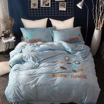 2020新款冬季-安哥拉绒牛奶绒宝宝绒绒类四件套 床单款四件套1.5m(5英尺)床 伊诗曼-蓝