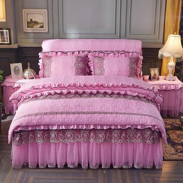 巴黎之夜系列 2018新款巴黎之夜床裙色织水洗棉夹棉款 150*200 巴黎之夜-粉色