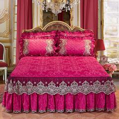 2018新款罗马假日天鹅绒床裙 枕套/一对 玫红