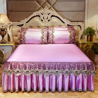 2019新品巴黎铁塔冰丝凉席床裙三件套 150*200cm 巴黎铁塔-粉色