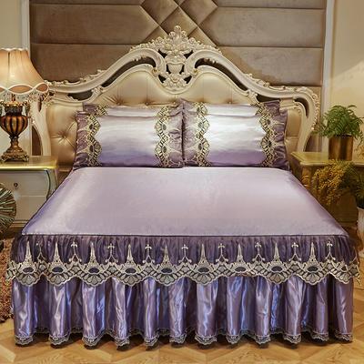 2019新品巴黎铁塔冰丝凉席床裙三件套 150*200cm 巴黎铁塔-浅紫