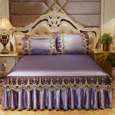 2019新品巴黎铁塔冰丝凉席床裙三件套 150*200cm 巴黎铁塔-深紫