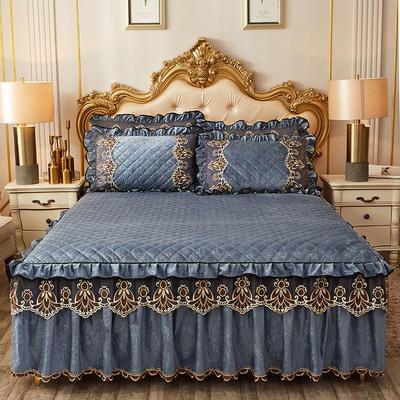 2019新款圣罗兰水晶绒床裙 枕套/对 湖蓝色