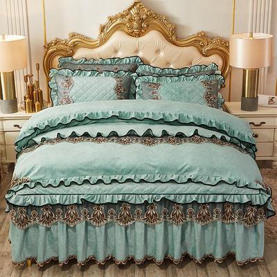 2019新款圣罗兰水晶绒床裙款四件套 1.5m床裙款四件套 淡绿色