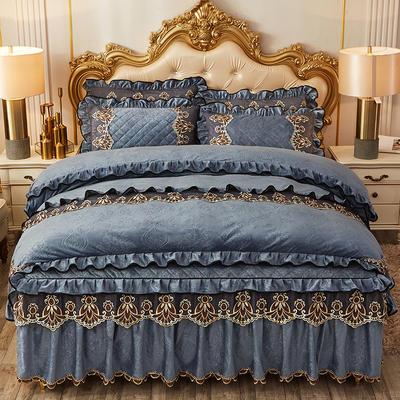 2019新款圣罗兰水晶绒床裙款四件套 1.5m床裙款四件套 湖蓝色