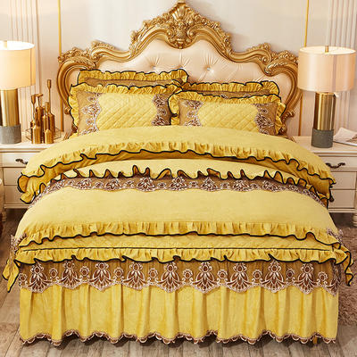 2019新款圣罗兰水晶绒床裙款四件套 1.5m床裙款四件套 靓丽黄