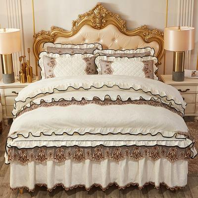 2019新款圣罗兰水晶绒床裙款四件套 1.5m床裙款四件套 米白
