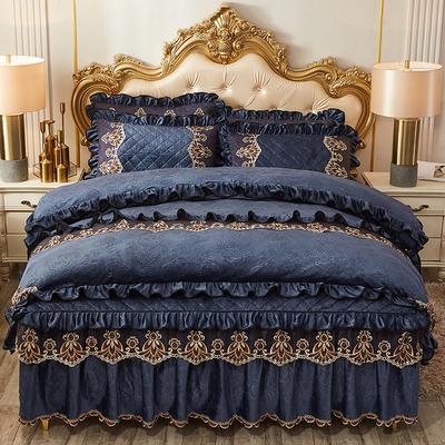 2019新款圣罗兰水晶绒床裙款四件套 1.5m床裙款四件套 深蓝色