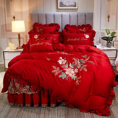2020新款贡缎真丝欧蓓拉系列床裙四件套 150*200cm床裙款四件套 欧蓓拉 高贵红