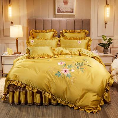 2020新款贡缎真丝欧蓓拉系列床裙四件套 150*200cm床裙款四件套 欧蓓拉 明黄色