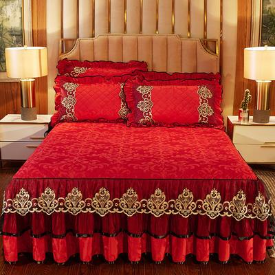 2020新款皇家风范床裙天鹅绒 150cmx200cm单床裙 皇家风范-大红