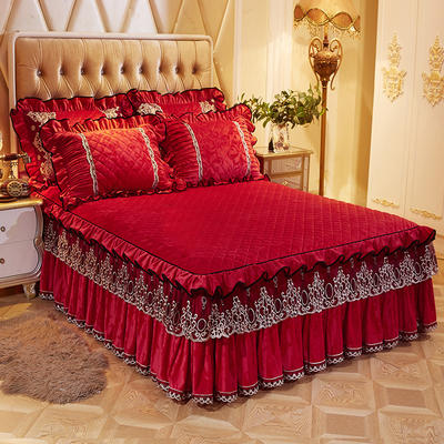 2020新款欧式风情床裙天鹅绒 150cmx200cm单床裙 欧式风情-大红色