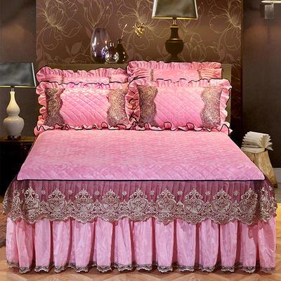 2020新款天鹅绒罗马假日床裙 150cmx200cm单床裙 粉色