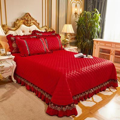 2020新款艾丽莎水晶绒床盖 250cmx250cm单床盖 大红色