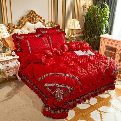 2020新款艾丽莎水晶绒床盖四件套 床盖款四件套 大红色