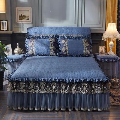 2020新款巴黎之夜夹棉床裙 150cmx200cm单床裙 巴黎之夜-宝蓝色