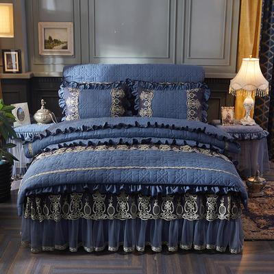 2020新款巴黎之夜夹棉四件套 1.5m床裙款四件套 巴黎之夜-宝蓝色
