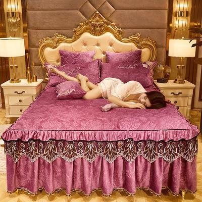 2020新款戴安妃水晶绒床裙 150cmx200cm单床裙 戴安妃-豆沙