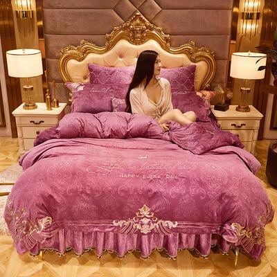 2020新款戴安妃水晶绒床裙四件套 1.5m床裙款四件套 戴安妃-豆沙