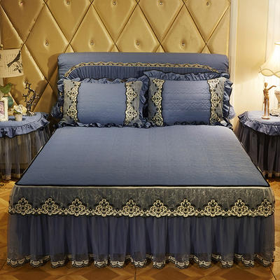 2020新款梦巴黎夹棉床裙 150cmx200cm单床裙 宝蓝