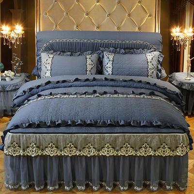 2020新款梦巴黎夹棉床裙四件套 1.5m床裙款四件套 宝蓝