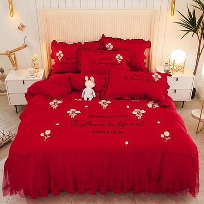 2021新款完美生活床裙床单四件套 150*200cm床裙四件套 大红