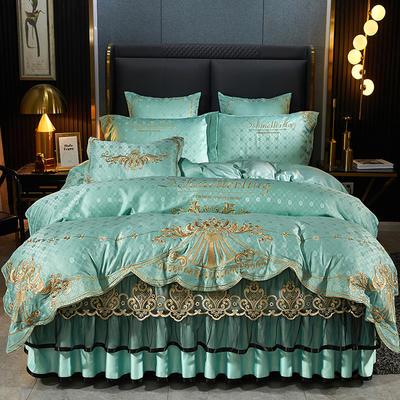 2021新款布兰卡床裙蕾丝刺绣提花四件套 1.8米床裙四件套 布兰卡 薄荷绿