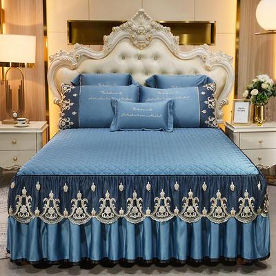 2021新款印象风范贡缎真丝床裙三件套 150*200cm床裙 印象风范-宝蓝