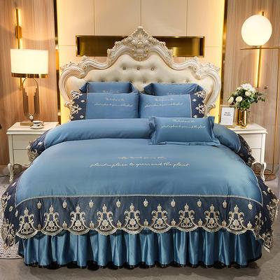 2021新款印象风范贡缎真丝床裙四件套 1.8米床裙四件套 印象风范-宝蓝