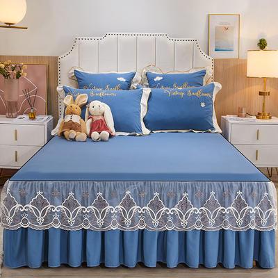 2021新款柔感磨毛小兔款床裙三件套 150*200单床裙 宝蓝