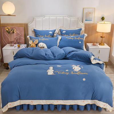 2021新款柔感磨毛小兔子床裙四件套 1.8m床裙款四件套 宝蓝