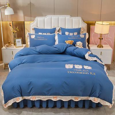 2021新款柔感亲肤磨毛刺绣小熊床裙四件套 1.8m床裙款四件套 宝蓝