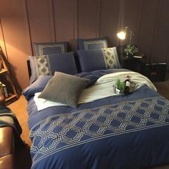 60支贡缎磨毛绣花系列 (实拍) 标准(1.5-1.8m)床 藏蓝