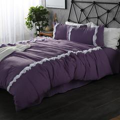 梦博妮家居 泡泡纱水洗棉四件套 韩版花边公主风水洗棉四件套 1.8m(6英尺)床 魅惑紫