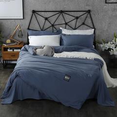 梦博妮家居 泡泡纱纯色水洗棉四件套 宜家风格简约套件 1.2m(4英尺)床 深海蓝