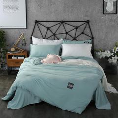 梦博妮家居 泡泡纱纯色水洗棉四件套 宜家风格简约套件 1.2m(4英尺)床 贝壳绿