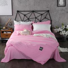 梦博妮家居 泡泡纱纯色水洗棉四件套 宜家风格简约套件 1.2m(4英尺)床 梦幻粉