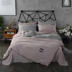 梦博妮家居 泡泡纱纯色水洗棉四件套 宜家风格简约套件 1.2m(4英尺)床 冰川灰