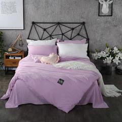 梦博妮家居 泡泡纱纯色水洗棉四件套 宜家风格简约套件 1.2m(4英尺)床 魅惑紫
