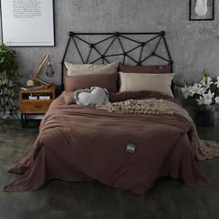 梦博妮家居 泡泡纱纯色水洗棉四件套 宜家风格简约套件 1.2m(4英尺)床 深邃咖