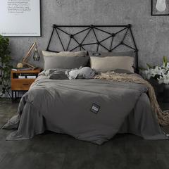 梦博妮家居 泡泡纱纯色水洗棉四件套 宜家风格简约套件 1.2m(4英尺)床 夜空灰