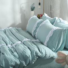 梦博妮家居 泡泡纱水洗棉四件套 韩版花边四件套 韩版水洗棉四件套 1.2m(4英尺)床 贝壳绿