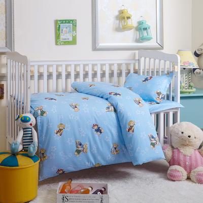 全棉幼儿园三件套幼儿园套件 丝绵款六件套 梦嘟嘟蓝