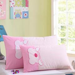 御棉坊 全棉贴布绣花儿童枕 儿童枕芯 幼儿园枕头 30X50CM乖乖熊-粉