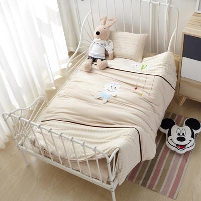 针织彩棉婴童套件幼儿园被子三件套/六件套 丝绵款六件套/60X120cm LOVE猴