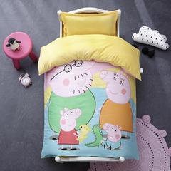 御棉坊棉加绒加厚保暖水晶绒幼儿园三件套被子婴童套件 棉花款六件套 佩琪全家